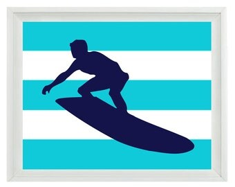 Beach Surfer Art Print Set - Personalize Nursery Boy Room Surf Aqua Navy Blue Stripes - Surfing Wall Art Home Decor