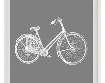 Bicycle Bike Vintage Wall Art Print  -White Gray - Nursery Children Room Dorm Home Decor   Print
