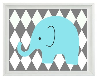 Elephant Nursery Wall Art Print - Aqua Gray Decor Harlequin Diamond Pattern - Children Kid Baby Room - Home Decor