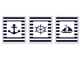 Nautical Nursery Sailboat Anchor Wall Art Print  - Navy Blue White Stripes - Children Room Home Decor Beach House