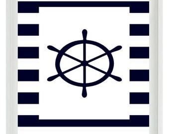 Nautical Nursery Ship Wheel Wall Art Print  - Navy Blue White Stripes - Children Room Home Decor Beach House
