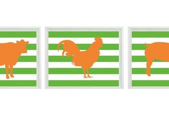 Farm Animal Silhouette Art Print Set - Orange Green Stripes Pig Cow Rooster Nursery Children Kid Room Wall Art Home Decor Set   Prints