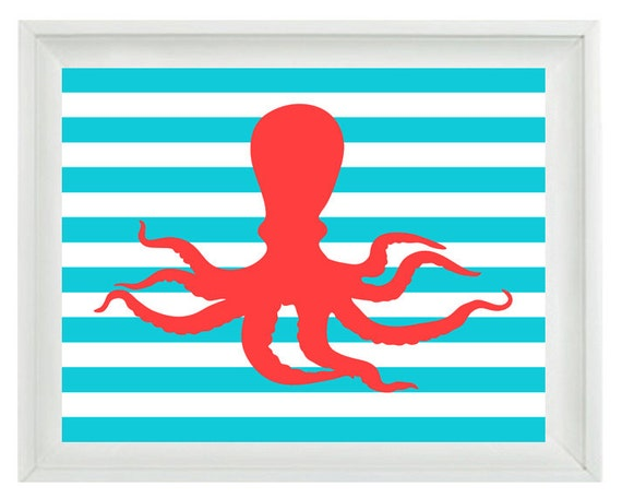 Octopus Beach Nautical Sea Creature Art Print Set - Nursery Children Room Aqua Red - Wall Art Home Decor