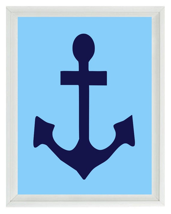 Anchor Wall Art Print Navy Blue Light Blue Nautical