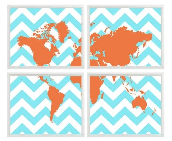 Chevron World Map Wall Art Print Aqua Orange Decor