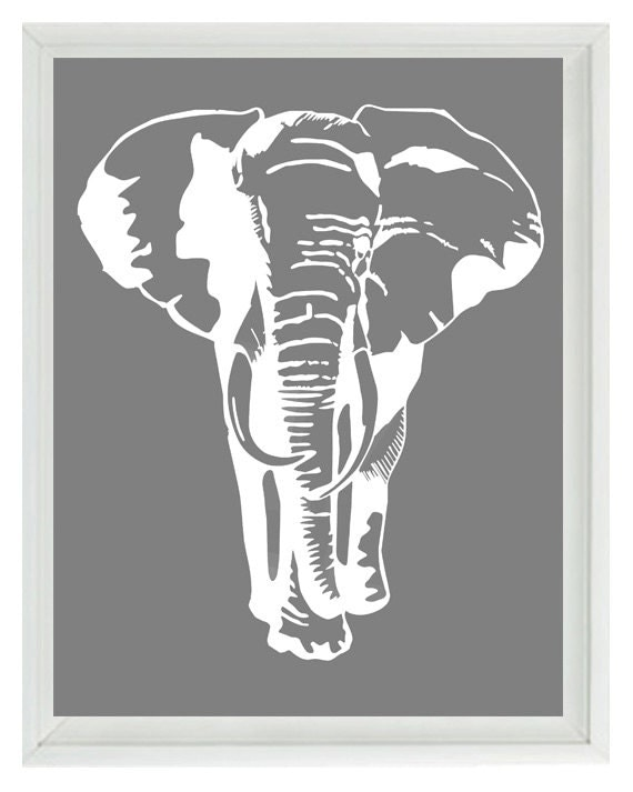 Elephant nursery wall art prints white gray decor for Black and white mural prints