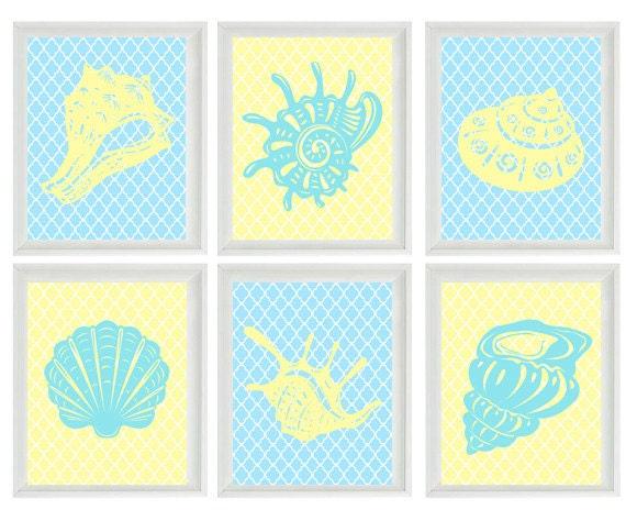 Sea Shell Art Print Set - Beach Nautical Ocean Yellow Aqua - Beach House Wall Art Home Decor    Prints