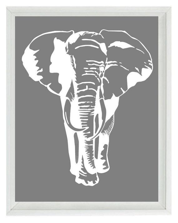 Elephant Nursery Wall Art Prints White Gray Decor