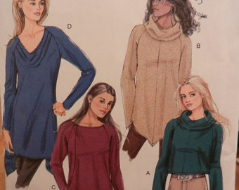 Butterick 5679, Misses' Knit tops, Multi-sized pattern X-SM, S, MED