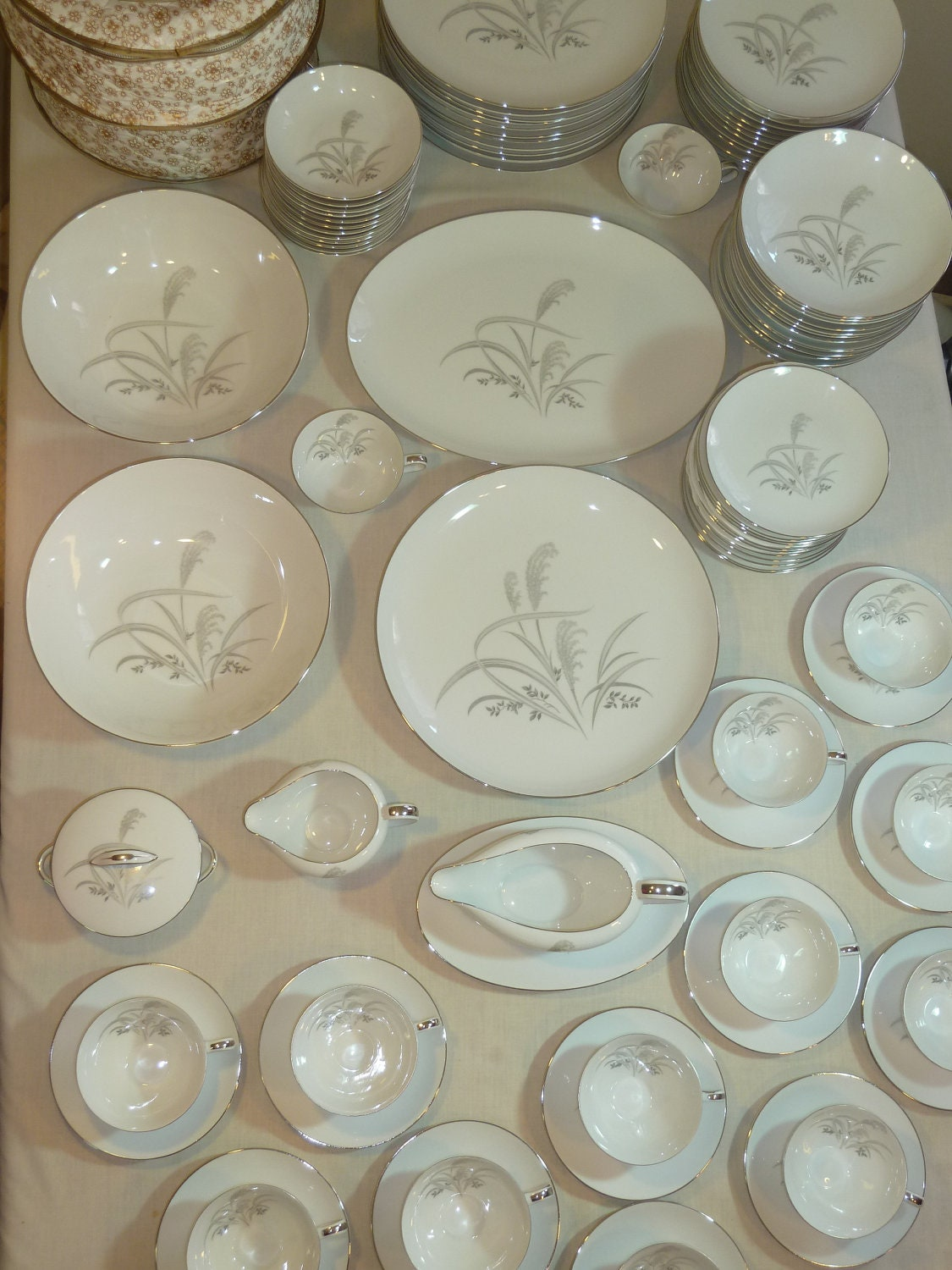 Antique Lamp Globes >> Wentworth Japan Silver Wheat China Set 98 Piece by Uniquefinds4you