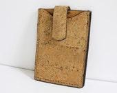 Leather and Cork Bark Card Holder/Wallet