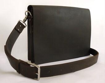 Mens Matte Oil-Pull Leather Messenger Bag/Laptop Bag