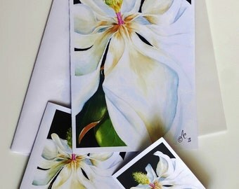 All Occasion Cards from original watercolor images of Magnolias, available as Greeting/Note/Gift cards.