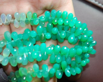 7 Inches,CHRYSOPRASE Chalcedony Faceted Drops Shape Briolettes 8-10mm