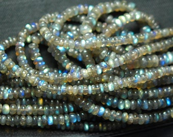 2x14 Inch Strand, Super Rare Finest-Quality- Blue Fire Labradorite Faceted Smooth Polished Large Rondelles 6mm