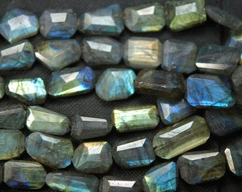 8 Inches, Super Blue Flash Labradorite Faceted Step Cut Nuggets 18-12mm Large Size