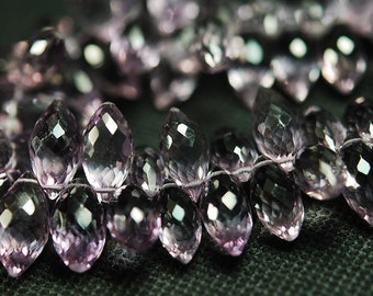 Just New Arrival,25 Pcs, AAA Quality Pink Amethyst Faceted Dew Drops Shape Briolettes, 10-12mm Long,Great Quality