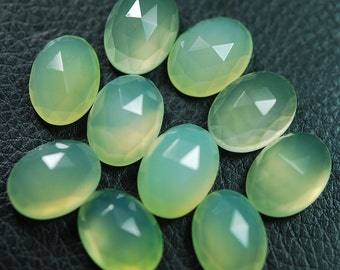 2 Matched Pair,AAA Quality,PREHNITE Chalcedony feceted Oval Shape Briolettes 12x16mm