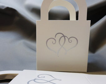 8 White Open Boxes with Two Silver Hearts