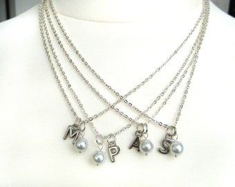 Bridesmaid Pearl Necklaces, Set of 4 Personalized   Initial Pearl Necklace