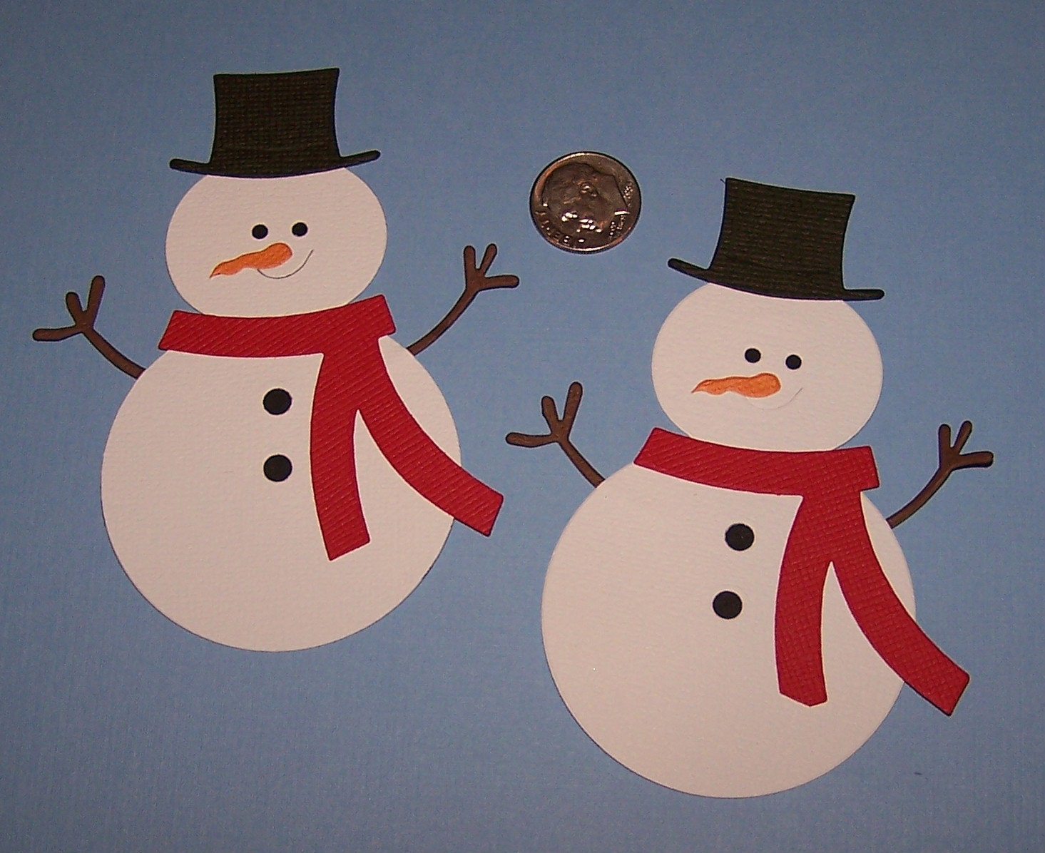 2 christmas snowman scrapbooking paper die cuts by diecuts4u for How to make snowman with paper
