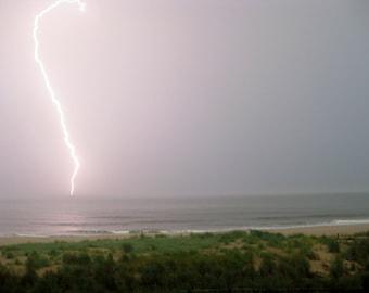 Lightning Bolt over the Ocean 8X10 photo, Storm Clouds, Lightning Strike, Nautical Decor, Ocean City Maryland, Nautical Art, Beach House Art