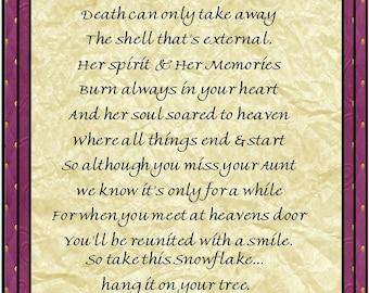 In Loving Memory of Aunt Snowflake Ornament