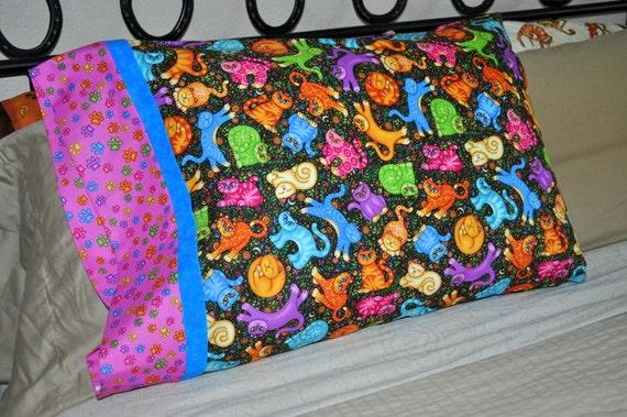 Handmade standard sz pillowcase Folk Art Kitty Cats & Flowers