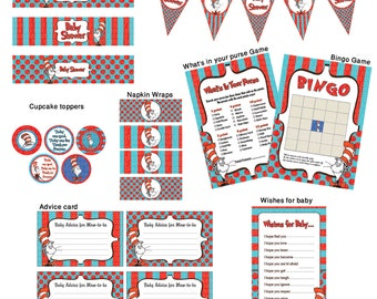 INSTANT DL- Dr Seuss Baby Shower-  Printable Ready to Go Package