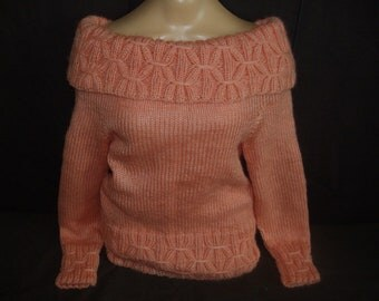 Pink  sweater mohair handknit FREE shipping