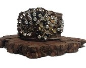Rhinestone and Chain Leather Cuff