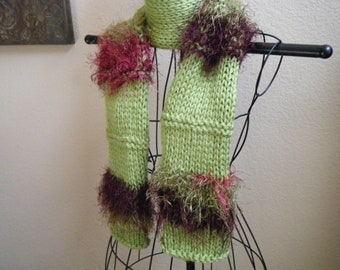 Granny Smith Apple Green and fuzzy long fashion scarf.