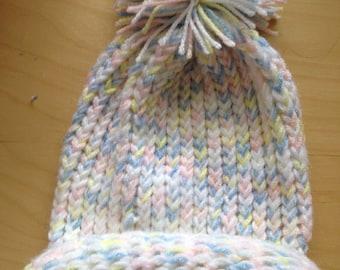 White and Multi Color Winter Hat