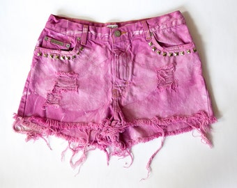 Vintage Calvin Klein High Waist Dyed Pink Studded Bleached and Distressed Denim Cut Off Shorts