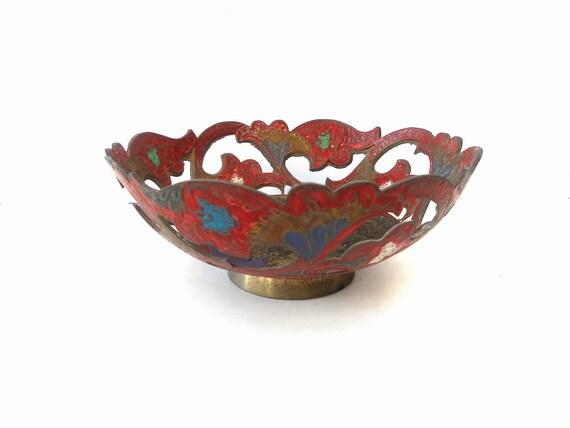 Vintage Decorative brass Bowl from India Tribal Ethnic Bohemian Decor