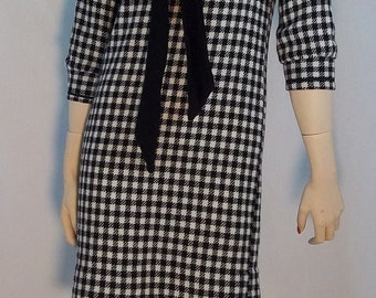 60's Black and White Checked Wool Dress