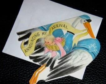 vintage cards ... STORK ARRIVAL announcement CARD ...