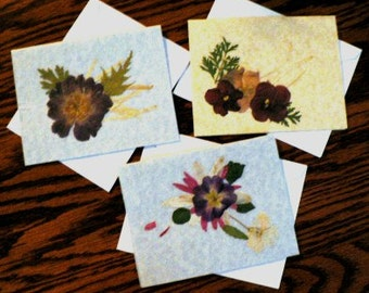 handmade artisanal cards scrapbooking desstash ... DRIED FLOWERS CARDS grp of 3 with envelopes ...