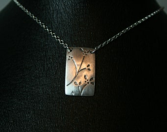 Printed Floral Pendant Necklace , Pure Silver