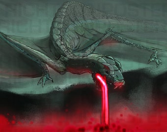 Poster Dragon Eating Lava Digital Painting
