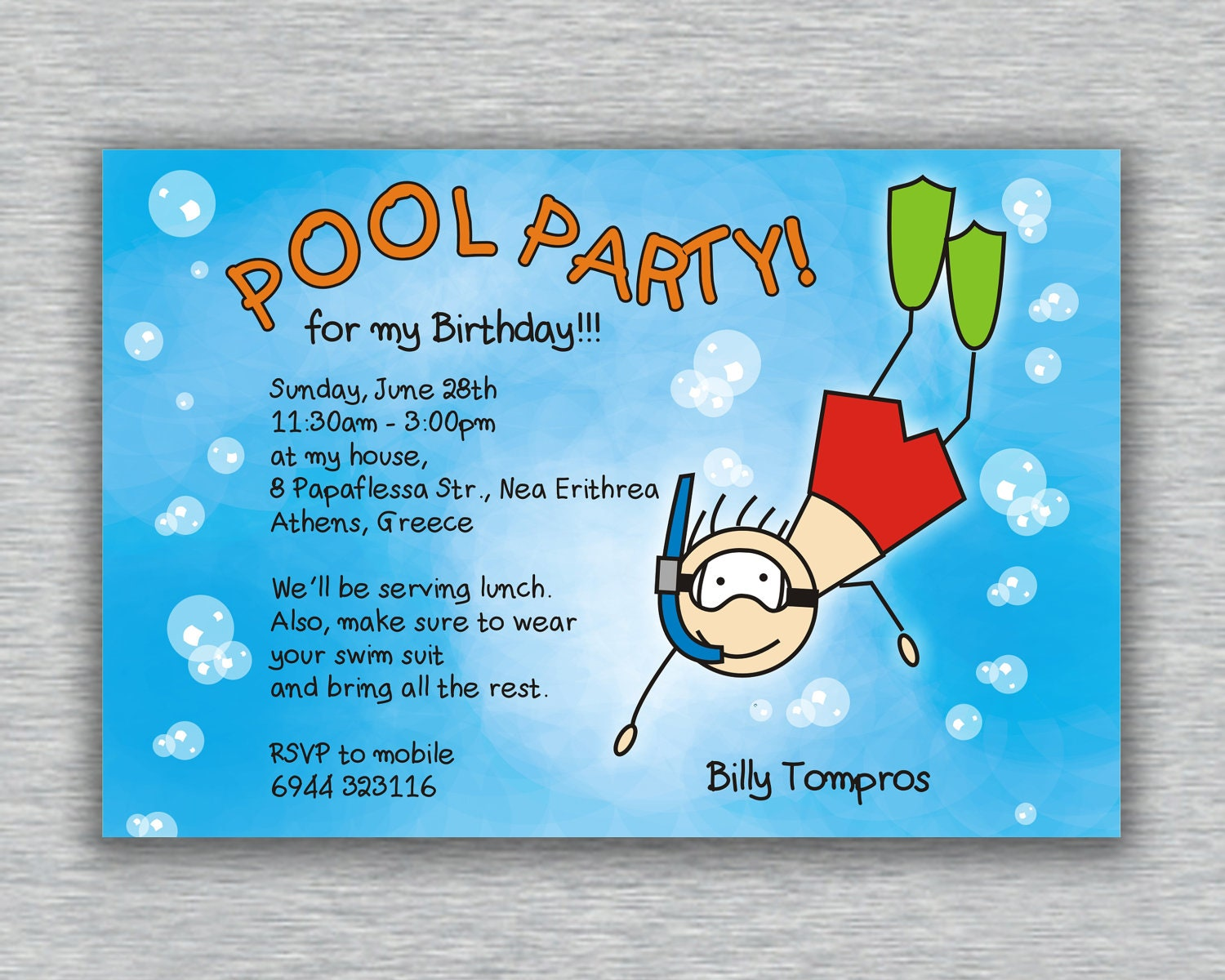 Printable Boy Birthday Pool Party Invitation