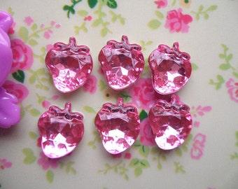 20pcs Pink Strawberry 3D acrylic rhinestone cabochon 14x15mm