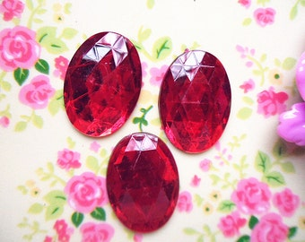 15pcs acrylic red Oval 3D rhinestone shape cabochon 18x25mm