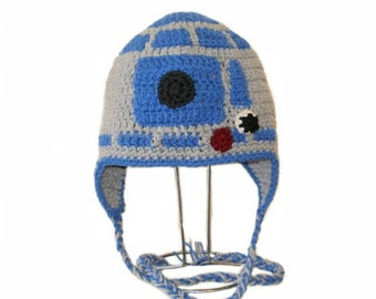 Crochet Pattern PDF R2D2 Hat.Beanie and Earflap.With/Without Ears (All Sizes Included: Newborn to Adult). Permission to sell finished items.