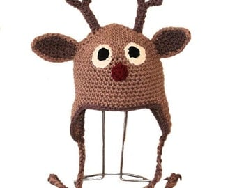Rudolph Earflap Hat. (Any Sizes: Newborn to Adult). Please send the size.