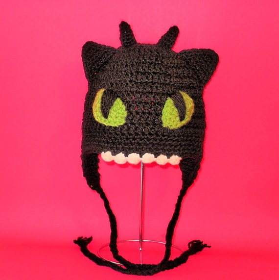 Crochet Pattern PDF Toothless Hat. Beanie and Earflap. All