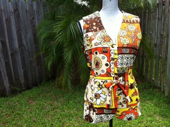 The Shaggy Vest - 60s Psychedelic Pattern Aztec Flower Yellow Orange Brown Black Multi Color Hipster Vest - Medium