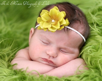 Mustard Yellow Flower White Skinny Elastic Newborn Headband
