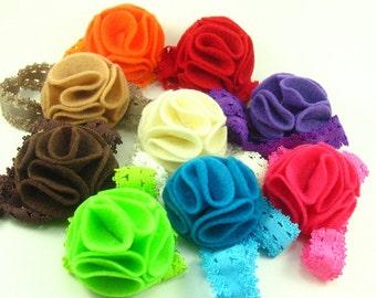 Felt Flower Headband.Felt Baby Headband.Felt Headband.Baby Headband.Newborn Headband.Eco Friendly Felt.Lace Headband.Baby Headbands Felt.ECO