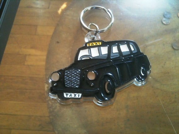 Vintage Plastic British Taxi Hackey Key Chain Ring